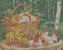 Канва-ткань для вышивания бисером Корзина с грибами (Б-43) полна